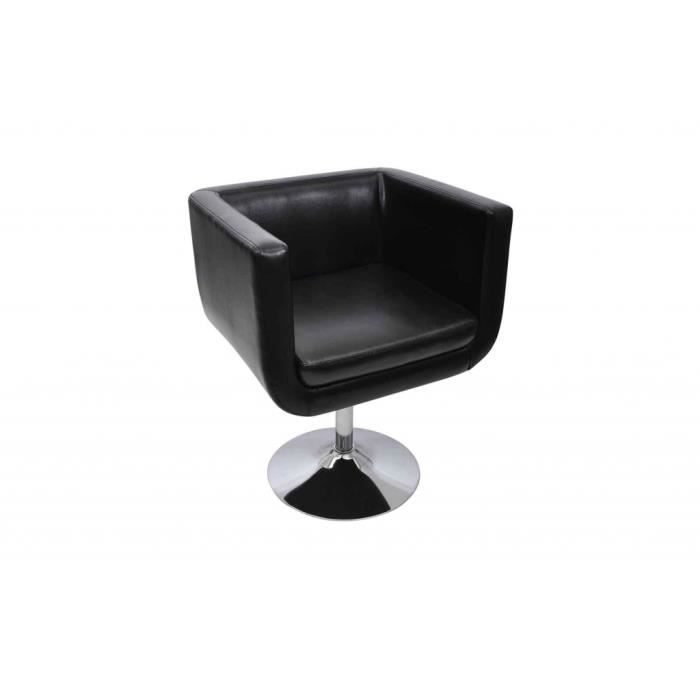 fauteuil design club noir achat vente fauteuil cuir acier chrom synth tique cdiscount. Black Bedroom Furniture Sets. Home Design Ideas