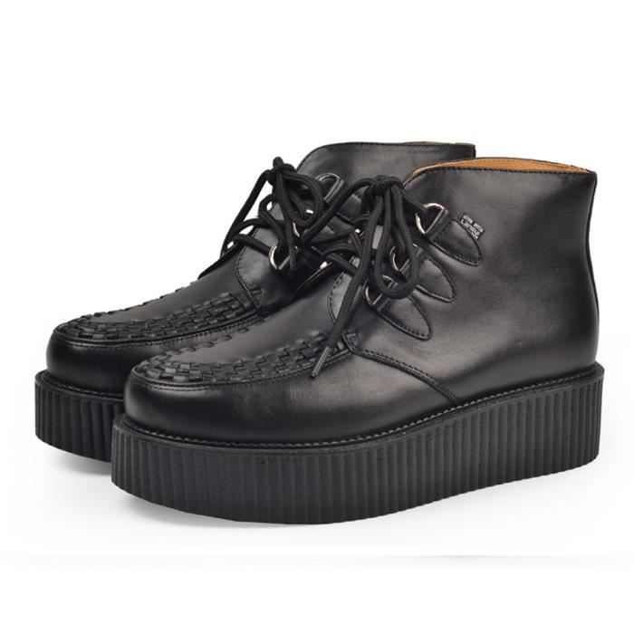 RoseG Homme Cuir Lacets Plateaforme Punk High Top Creeper Bottes 42