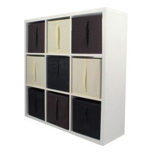 MEUBLE ÉTAGÈRE COMPO Meuble De Rangement 9 Cases + 9 Cubes Chocol