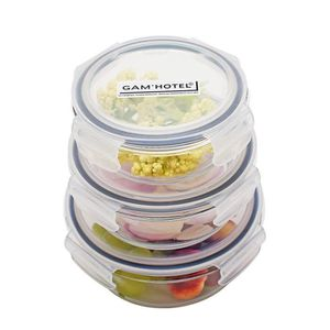 BOITES DE CONSERVATION Lot de 3 boîtes rondes hermétiques en verre avec c