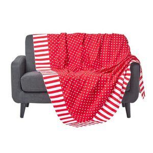 JETÉE DE LIT - BOUTIS Jeté de lit ou de canapé - Pois et rayures - Rouge