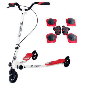 TROTTINETTE SUNGLE trottinette 3 roues rouge pliable avec 2 pl