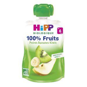 DESSERT FRUITS BÉBÉ HIPP BIOLOGIQUE Gourde 100% fruits Poire banane ki
