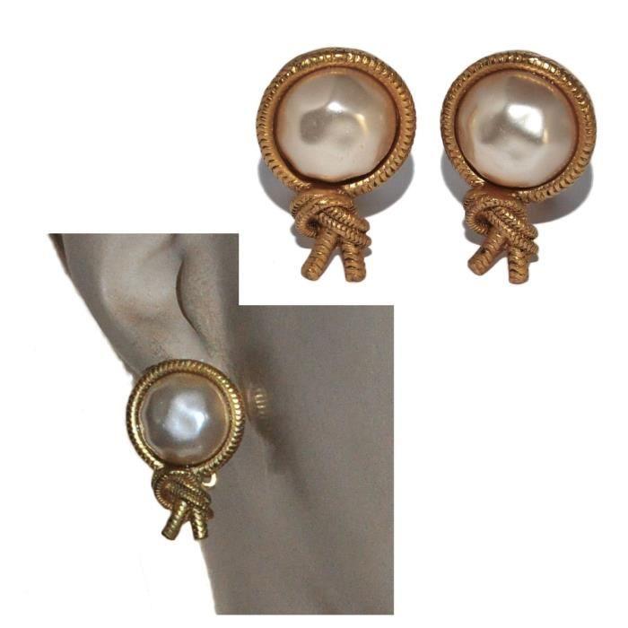 Agatha Paris Boucles d'oreilles clips de couleur or perle nacrée bijou