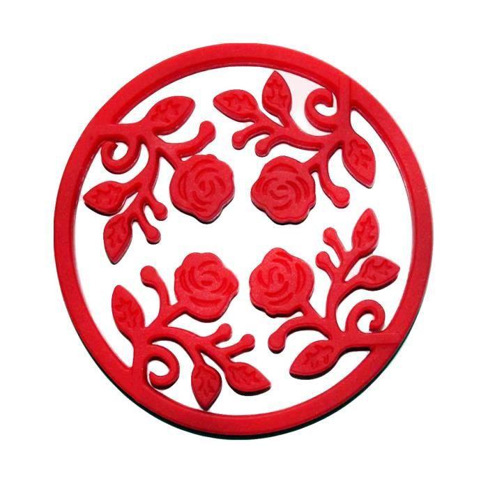 Dessous de plat extensible en silicone rouge Rouge