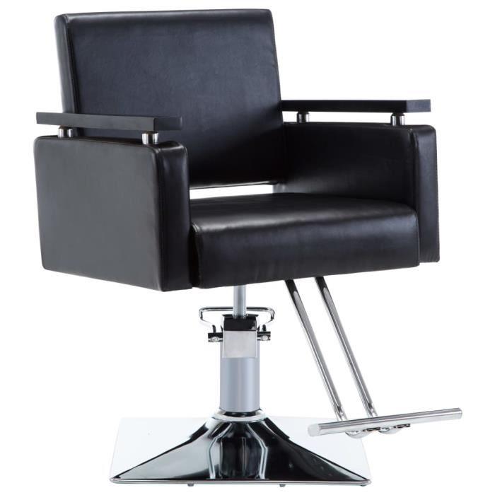 VAGUE Chaise de coiffeur Similicuir (Noir)