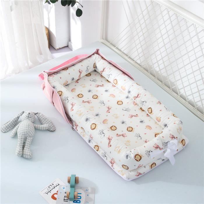 Lit Bébé Portable en Coton Reducteur de lit Pliable Nid pour nouveau-né nourrisson de voyage Lavable Berceau 0-2 Ans, Animaux