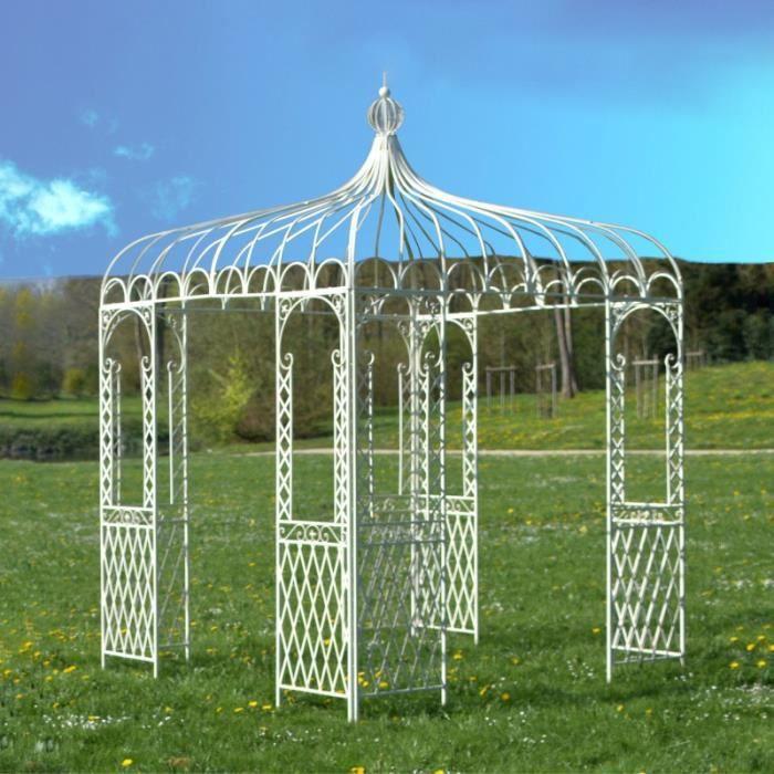 Tonnelle Carrée Fer Jardin Pergola Gloriette Carrée Fer Jardin Métal Blanche 220 cm x 220 cm x 300 cm 14304-Pergola-Bis