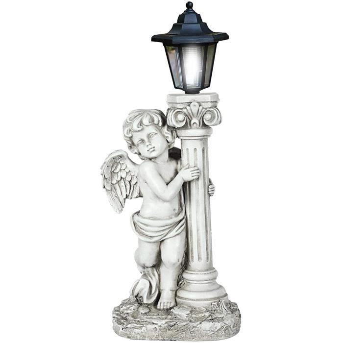 Statue d'ange en R&eacutesine Blanche, Figurines De Statue d'ange Solaire Ailes De D&eacutecoration De Jardin Int&eacuterieur240