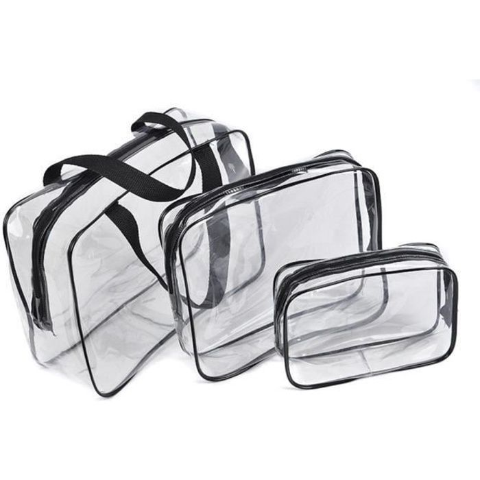 3 pcs Trousse de Toilette femme homme voyage, Trousse de toilette transparente, Set de maquillage cosmétique sac de rangement (NOIR)