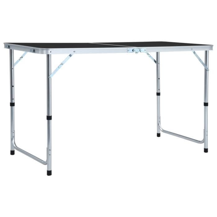 Joli & Mode 7178 - Table de camping pliable Table de Pique-Nique - Gris Aluminium 120x60 cm