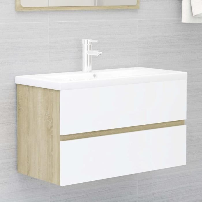 Meuble de Salle de Bain sous lavabo, Meuble de Rangement sous Vasque Meuble sous Vasque Meuble sous Vasque Blanc et Chêne [478]