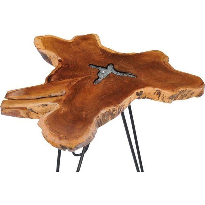 Style Élégance Chic - Table basse Style Scandinave - Bout de canapé Table à thé 70 x 45 cm Bois de teck massif et polyrésine - 19031