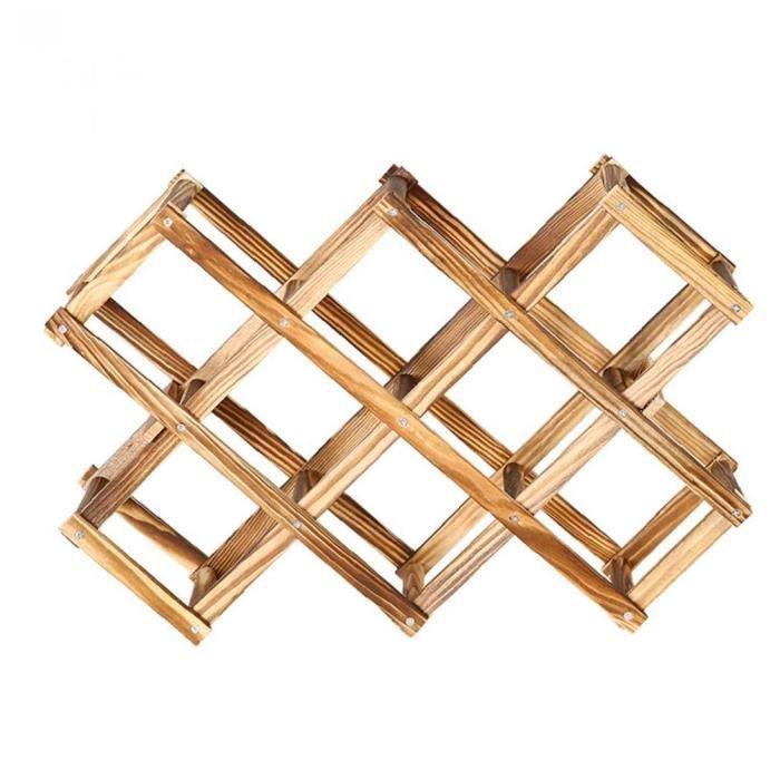 YepYes Porte-bouteille de vin Cabinet Support Bouteille de vin en bois Porte Countertop pliable 10 Bouteilles