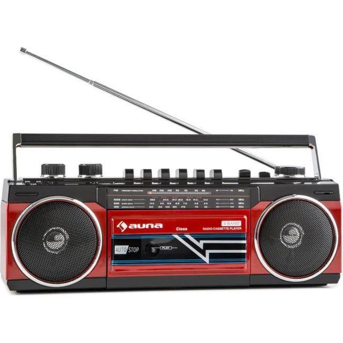 auna Duke Poste radio cassette portable rétro Ghettoblaster Bluetooth (USB ,SD MP3 , tuner FM , haut-parleurs stéréo) - rouge