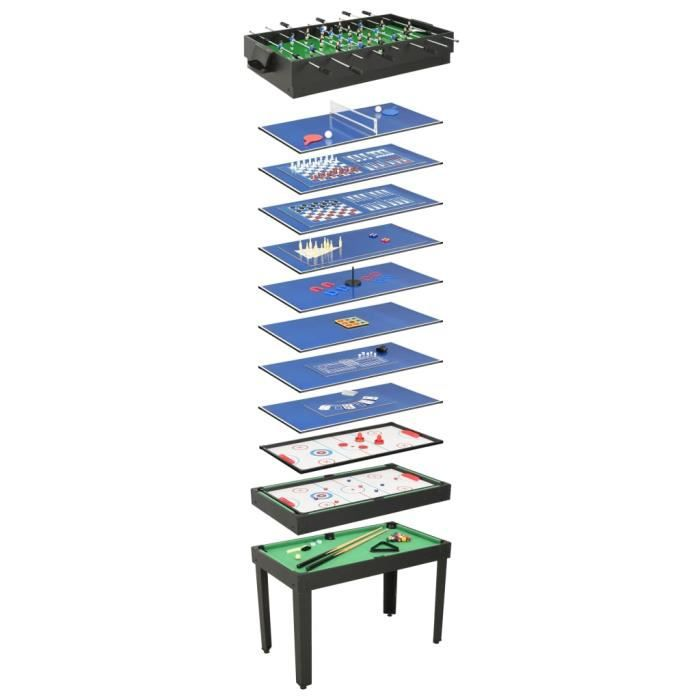 ETE Table de jeu multiple 15 en 1 121x61x82 cm Noir