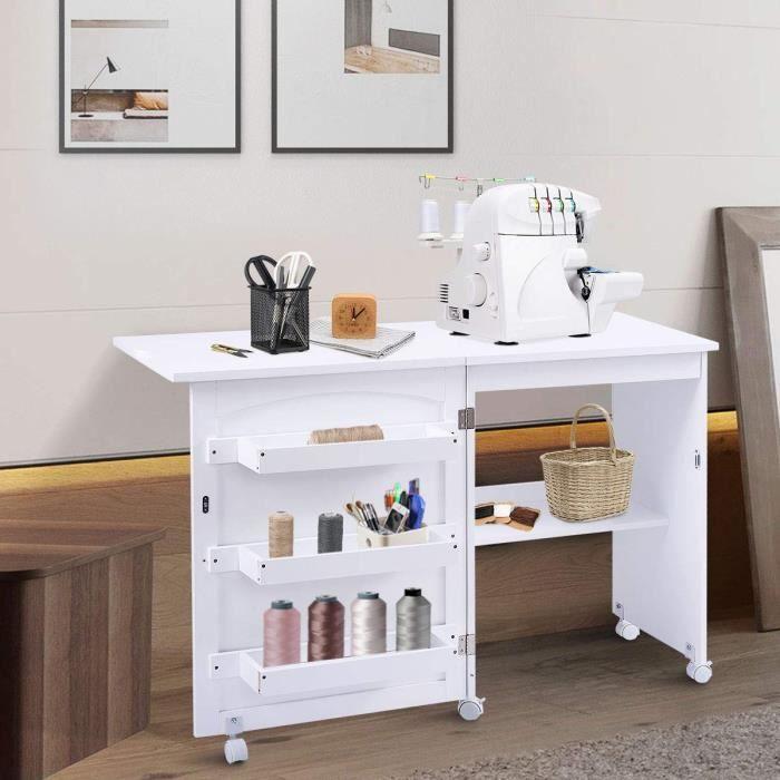DREAMADE Table pour Machine à Coudre en Bois Pliable et Mobile, Armoire Machine à Coudre avec 4 Étagères, 116,5 x 49,8 x 77,5CM