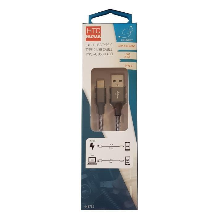 M500 Câble de charge et data avec adaptateur USB type C 2,4 A - Connecteurs alu, câble tressé renforcé 1,5 m