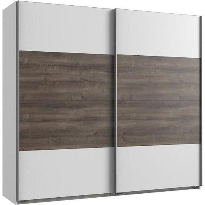 Armoire EVA portes coulissantes largeur 180 blanc / chêne châtaigne blanc Bois Inside75