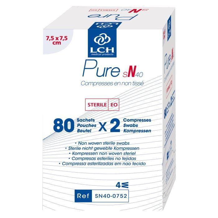 Lot de 20 boites de 160 Compresses PURE Non tissé stérile 40g - 7,5x7,5 cm - Boite de 80 sachets de 2 compresses