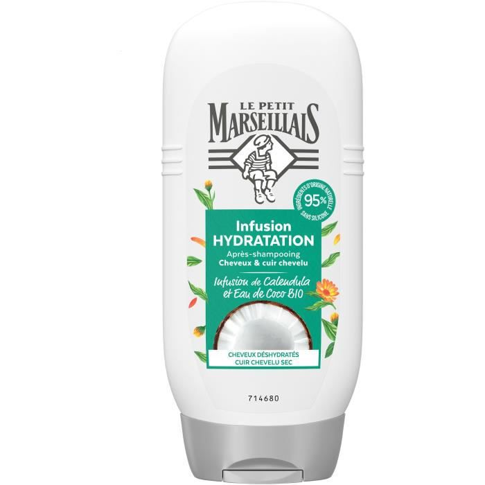 LE PETIT MARSEILLAIS Après-shampooing Hydratation Infusion Calendula/Eau de coco - Flacon de 200 ml
