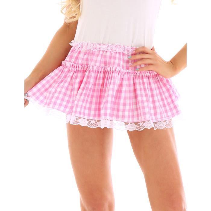 Unisexe Mini Jupe Courte Sissy Homme Lingerie Femme Sexy Dentelle Taille Elastique XS-XL Rose