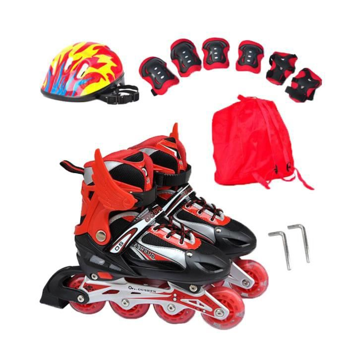 Roller in Line Tailles Reglable Entrainements Adulte Rouge