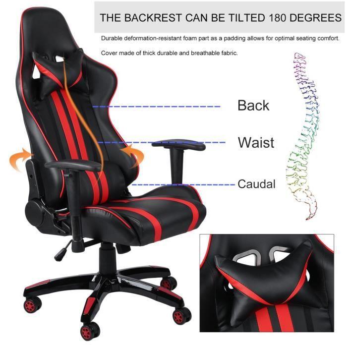 Noir+Rouge-Classique Design Cool-Fauteuil de Jeu Pu Cuir Chaise de Cybercafé-Bureau-Maison anti-fatigue