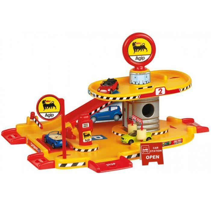 Garage enfant  et métal, jaune et rouge - H.24 x L.47 x P.35cm
