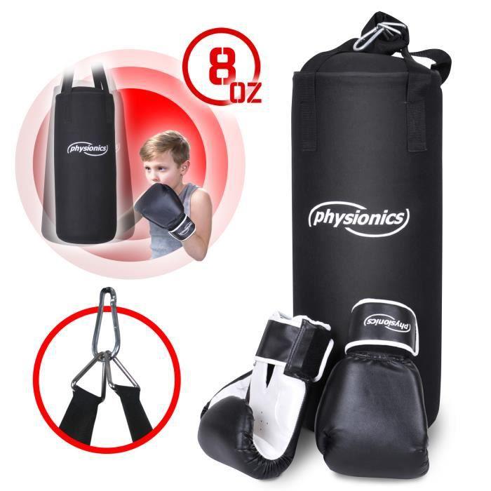 Physionics® Sac de Frappe pour Enfants - avec Gants - Sac de Boxe Junior, Punching Bag, Équipement de MMA, Muay Thai, Kickboxing