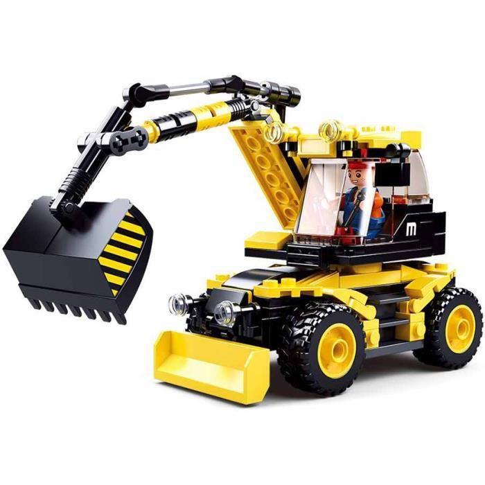 JEU DE CONSTRUCTION COMPATIBLE LEGO SLUBAN TOWN EXCAVATRICE SUR ROUES ENGIN CHANTIER M38-B0805 FIGURINE ARTICULE