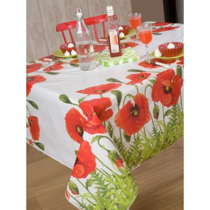 nappe en toile cir e ronde 140 cm joli coquelicot achat vente nappe de table cdiscount. Black Bedroom Furniture Sets. Home Design Ideas