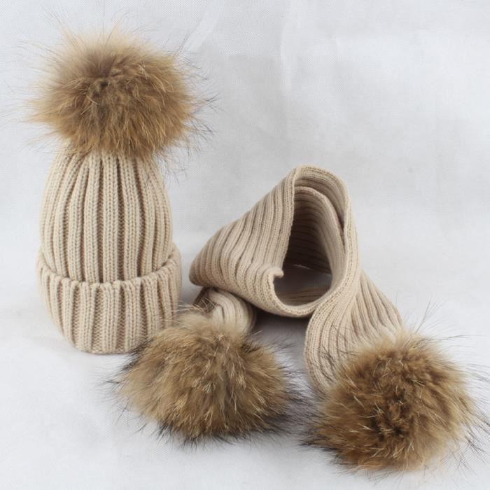 COSTUME - ENSEMBLE Ciel-356Bonnet tricoté boule de cheveux bonnet + é