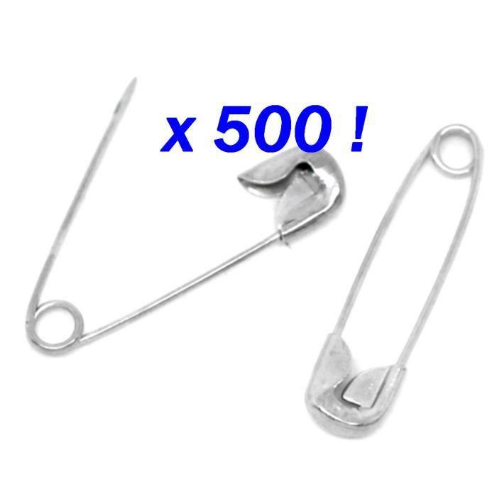 lot de 30 épingles à nourrice sûreté métal argentées 28 x 6 mm NEUF