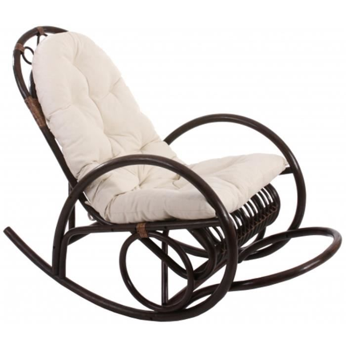 rocking chair avec coussin blanc en rotin derby brun achat vente fauteuil rotin cdiscount. Black Bedroom Furniture Sets. Home Design Ideas