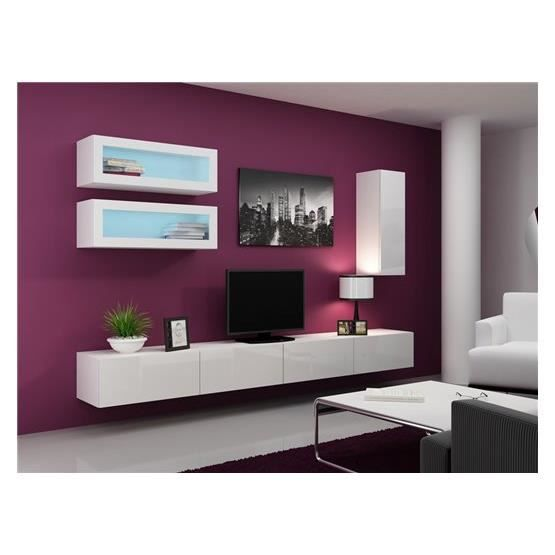 meuble tv design suspendu bino blanc achat vente meuble tv meuble tv bino bl cdiscount. Black Bedroom Furniture Sets. Home Design Ideas