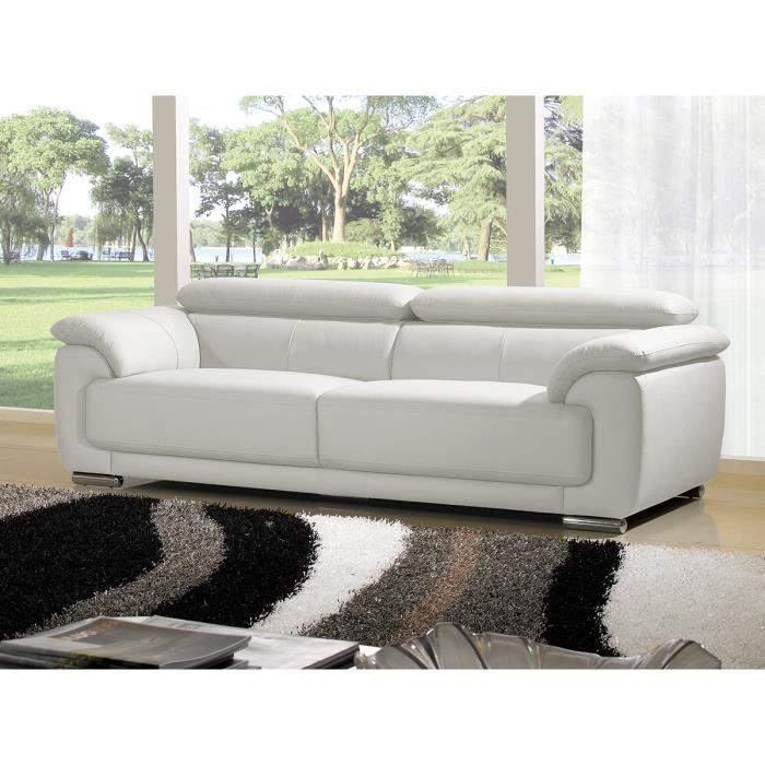 canap luxe marjorie 3 places cuir blanc design achat vente canap sofa divan cdiscount. Black Bedroom Furniture Sets. Home Design Ideas