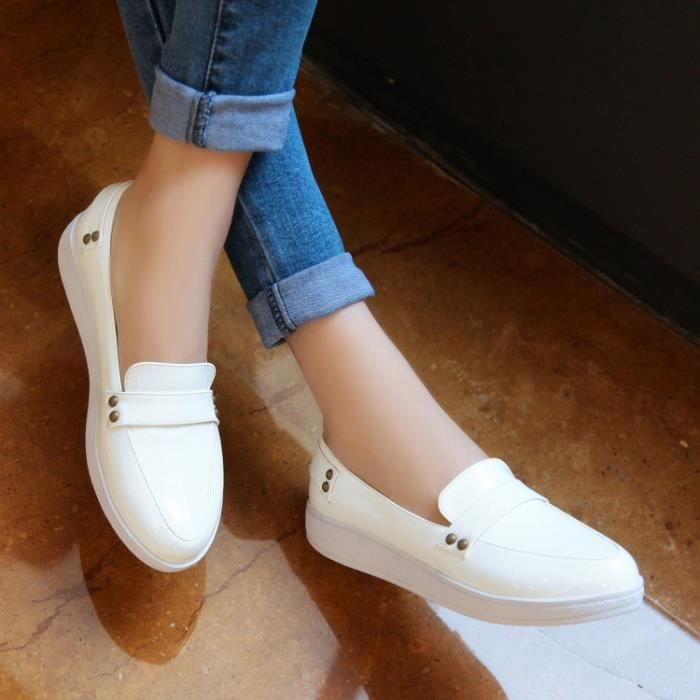 baskets-Pure Color bout rond talon plat des femmes bowknot Sneakers tGVqI7i