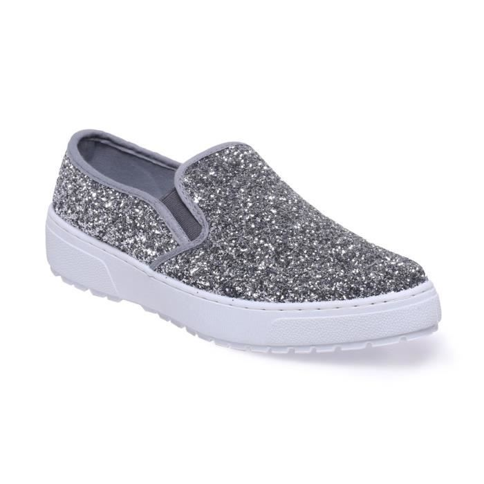 La Modeuse - Baskets de type slip-on aspect cuir