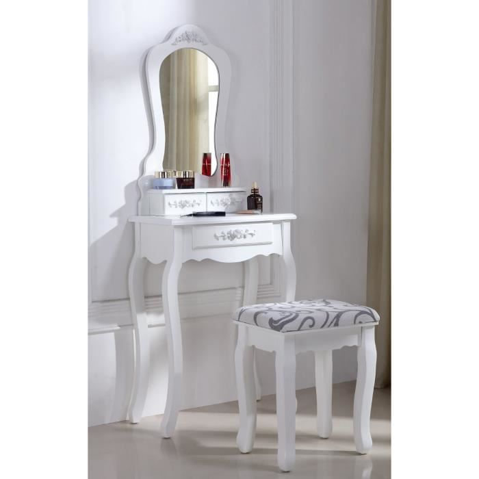 coiffeuse blanche avec si ge et miroir 53 achat vente. Black Bedroom Furniture Sets. Home Design Ideas