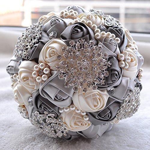 BOUQUET MARIÉE TISSU Fleurs de mariage mariée élégante perle Bouquets d