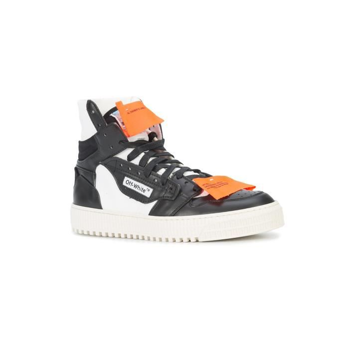 OFF-WHITE HOMME OMIA065S188000160100 BLANC/NOIR CUIR BASKETS MONTANTES