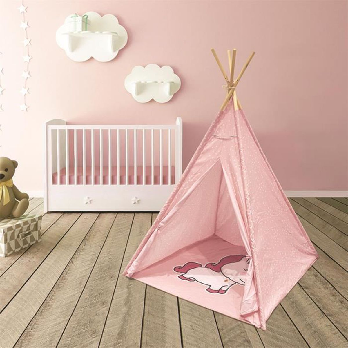 Tipi enfant Licorne Rose The Home Deco Factory
