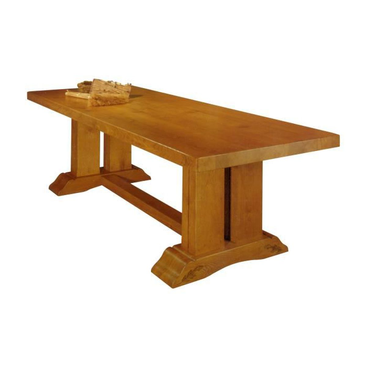 Table monast re en ch ne massif orge achat vente for Grande table a rallonge