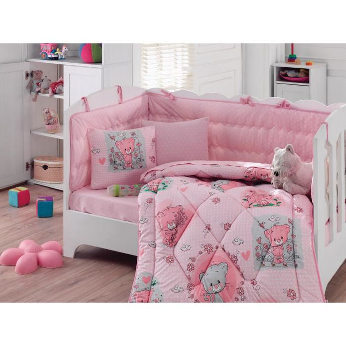 set de lit b b fille 6 pi ces 100 coton achat vente pack linge de lit cdiscount. Black Bedroom Furniture Sets. Home Design Ideas