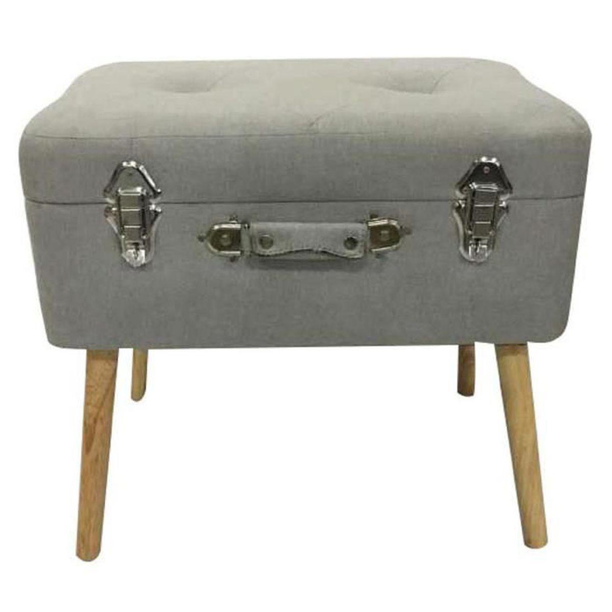 Porte Bois Gris Clair coffre valise en bois et polyester coloris gris clair - dim
