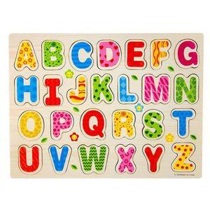PUZZLE 26pcs bois alphabet anglais Lettres Puzzle jouet é