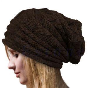 BONNET - CAGOULE Bonnet Tricoté Femme Chapeau de Ski Hiver Café