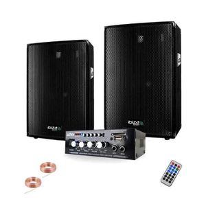 PACK SONO SONO 600 + AMPLI + 2 ENCEINTES 300W PA DJ SONO LED