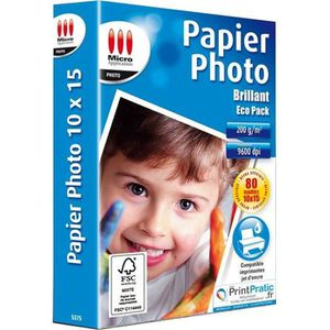 PAPIER PHOTO Papier photo brillant 10x15 - 200g/m² - 80 feuil.